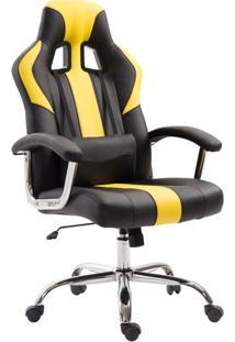 Cadeira De Escritório Presidente Giratória Gamer Dinamarca Preta E Amarela