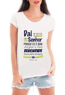 Camiseta Criativa Urbana Graças Ao Senhor Gospel Textos - Feminino-Branco