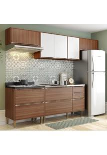 Cozinha Compacta Calábria 8 Portas 4 Gavetas Nogueira/Branco - Multimóveis