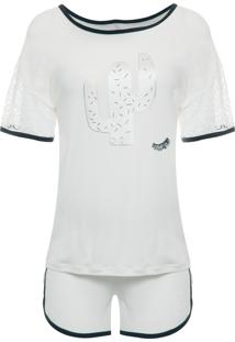 Pijama Feminino Curto Malha Vitoria - Branco
