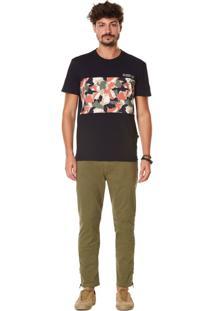 Camiseta Zinco Regular Decote Redondo Com Recortes Preto