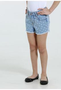 Short Infantil Jeans Estampa Corações Marisa