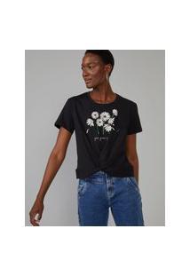 Amaro Feminino T-Shirt Margarette Torcido Cintura, Preto
