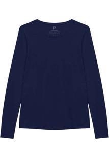Camiseta Reta Feminina Gola C Manga Longa Azul