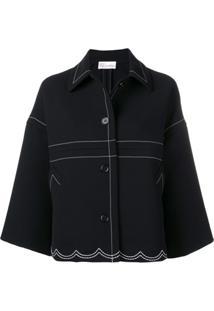 Red Valentino Stitching Detail Oversized Jacket - Preto