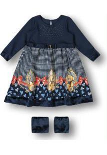 Vestido Com Polaina Azul