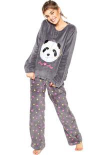 68d7d3d3f63cf9 Pijama Any Any Soft Panda Cinza