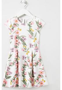 Vestido Infantil Texturizado Estampa Floral - Tam 5 A 14 Anos