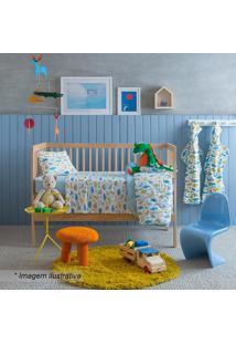 Edredom Baby Dino- Branco & Azul- 100X140Cm- Sansantista
