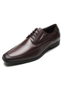 Sapato Social Couro Ferracini Pespontos Marrom