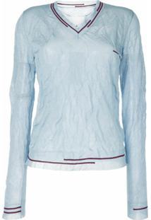 Maison Margiela Camiseta Com Efeito Amassado E Detalhe De Listras - Azul