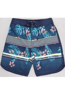 Bermuda Surf Infantil Listrada Com Flores Azul Marinho