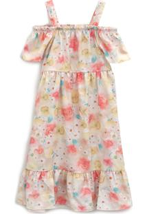 Vestido Elian Infantil Floral Laranja/Amarelo