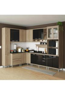 Cozinha Compacta Sicília 16 Portas C/ Tampo Preto E Vidro 5 Preto/Argila - Multimóveis
