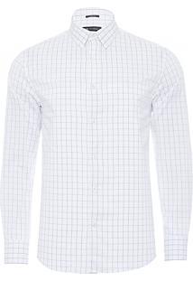 Camisa Masculina Quadriculada Urban - Branco