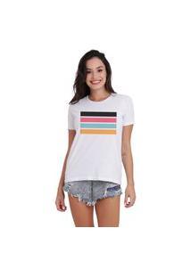 Camiseta Jay Jay Basica Listras Dtg Branco
