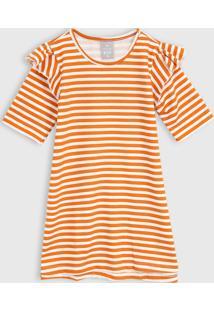 Vestido Hering Kids Infantil Listrada Laranja/Off-White