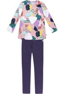 Conjunto Infantil Menina Com Blusa Manga Longa E Calça