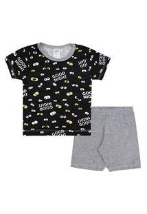Pijama Bebê Masculino Camiseta Manga Curta Preta Olhinhos E Shorts (1/2/3) - Kappes - Tamanho 3 - Preto,Mescla
