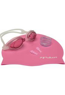 Kit Oculos + Touca + Protetor De Ouvidos De Natação Unisex Poker Aruba - Unissex
