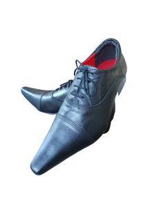 Sapato Masculino Italiano Oxford Em Couro Art Sapatos Preto Fosco