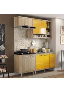 Cozinha Compacta Sicília 7 Portas Com Balcão Sem Pia Amarelo/Argila - Multimóveis