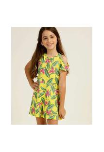 Vestido Infantil Open Shoulder Tropical Tam 4 A 10