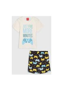 Pijama Tricae Curto Infantil Estampado Off-White/Preto