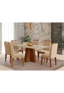 Conjunto De Mesa Maite 1,60Cm Para Sala De Jantar Com 6 Cadeiras Paola-Cimol - Savana / Off White / Nude