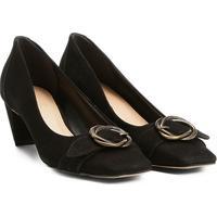 8b4e5fa6575ba Scarpin Couro Shoestock Salto Baixo Fivela - Feminino-Preto