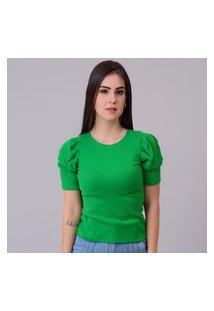 Tshirt Manga Bufante Canelada Verde