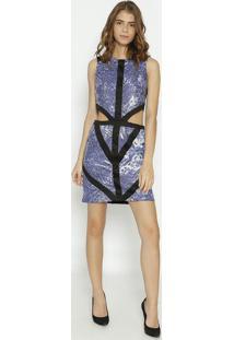 Vestido Com Paetê & Recorte Vazado - Preto & Azulmoiselle