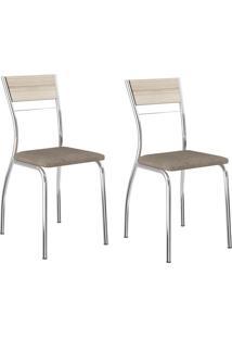 Kit 2 Cadeiras 1721 Camurça Conhaque/Cromado - Carraro Móveis