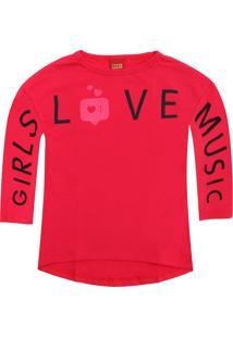Camiseta Kyly Menina Lettering Rosa