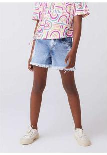 Shorts Jeans Infantil Menina Com Puídos Azul
