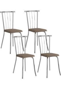Cadeira 154 Cromada 04 Unidades Camurça Conhaque Carraro
