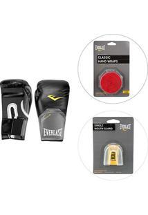 Luva De Boxe/Muay Thai Everlast 14 Oz + Protetor Bucal + Bandagem Everlast 2,74M - Masculino