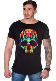 Camiseta Lucas Lunny Oversized Longline Motoqueiro Caveira Pixel