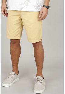 Bermuda De Sarja Masculina Reta Com Bolsos Amarela