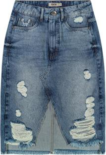 Saia Azul Mídi Jeans Destroyed