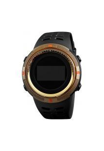 Relógio Skmei Digital -1360- Preto E Dourado