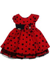Vestido Fantasia Vermelho Com Bolinhas - Tam 1 Ao 3