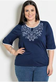 Blusa Bicolor Plus Size Marinho