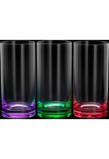 Conjunto 6 Copos Altos De Cristal Ecológico Long Drink Set-Bar 380Ml – Linha Favorit Coloridos