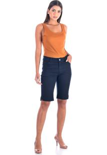 Bermuda Sisal Jeans Ciclista Dark Blue
