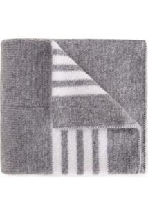 Thom Browne Kids Cobertor Listrado De Caxemira - Cinza