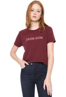 Camiseta Cropped Calvin Klein Jeans Lettering Vinho