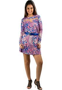 Vestido Banna Hanna Visco Estampado Onça/Azul/Rosa - Feminino