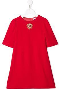 Dolce & Gabbana Kids Vestido Mangas Curtas Com Logo - Vermelho