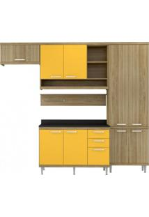 Cozinha Completa Com Balcão Com Tampo 6 Peças 9 Portas Sicília Multimóveis Argila/Amarelo